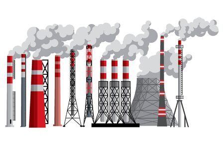 Industry factory .Vector industrial chimney pollution with smoke in environment illustration. Set of chimneyed pipe factory with toxic air power energy isolated on white background
