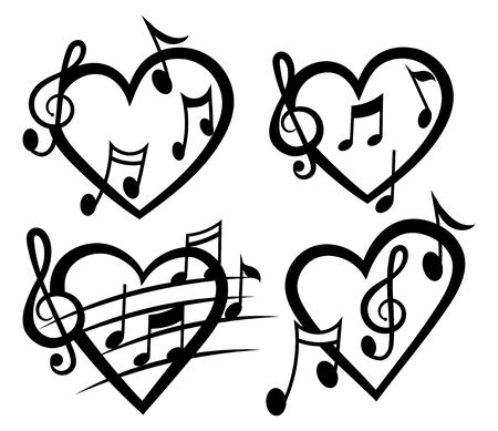 Heart with notes. Vector illustration of heart music. Black and white drawing for music lover. Tattoo.