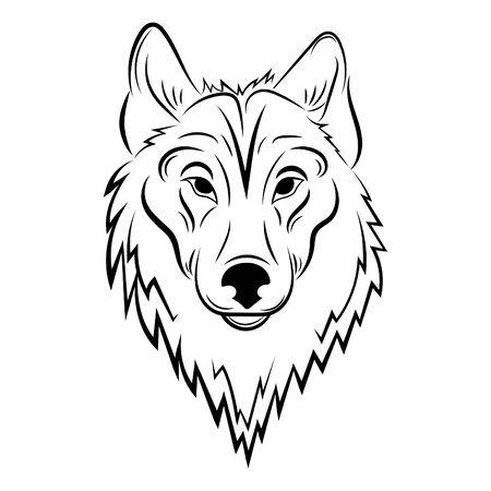 Retrato de un lobo. Ilustración en blanco y negro de un lobo salvaje. Arte lineal. Animal depredador del bosque. Tatuaje.