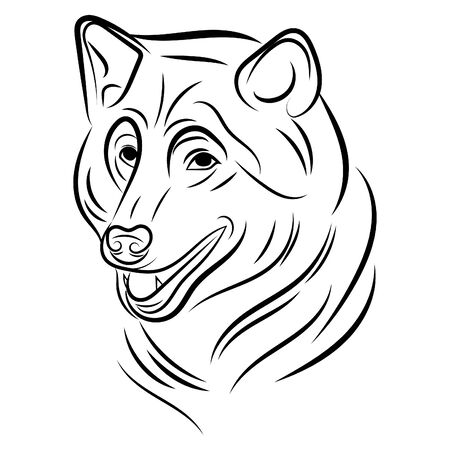 Portrait of a wolf. Black and white illustration of a wild wolf. Linear art. Forest predatory animal. Tattoo. 免版税图像 - 130846855