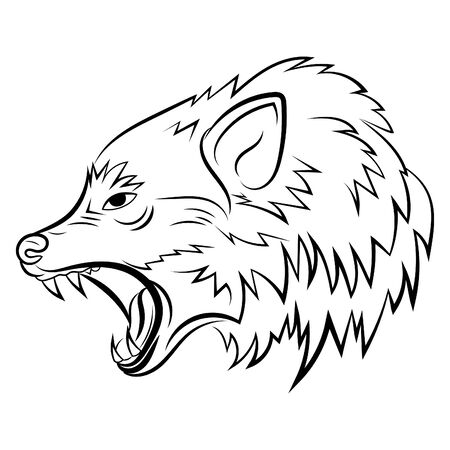 Portrait of a wolf. Black and white illustration of a wild wolf. Linear art. Forest predatory animal. Tattoo. 免版税图像 - 130846872
