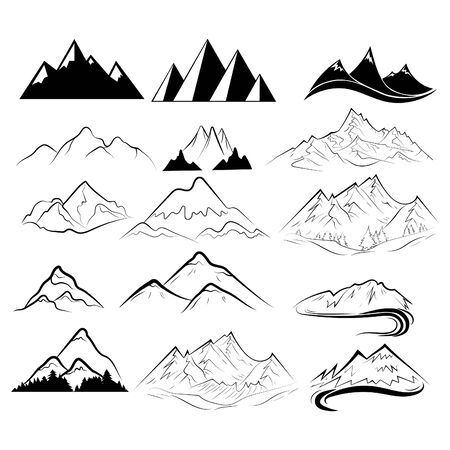 Set of mountains. Collection of stylized mountain landscapes. Black and white illustration of mountains. Linear art. Logo.