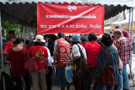 nonthaburi: NONTHABURI, THAILAND - JULY 26 : Thailand the Red Shirt celebrated party birthday   of Thaksin Shinawatra at Wat Kaeow Fa Temple on July 26, 2013 in Nonthaburi,   Thailand. Editorial