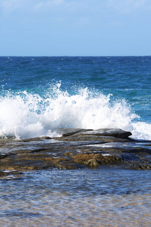 qld: Strong waves on the ocean in Sunshine Coast, QLD, Australia. Stock Photo