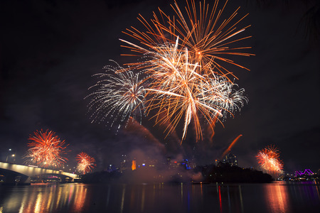 Riverfire festival fireworks in 2014 at Brisbane City, Queensland, Australia Stock Photo