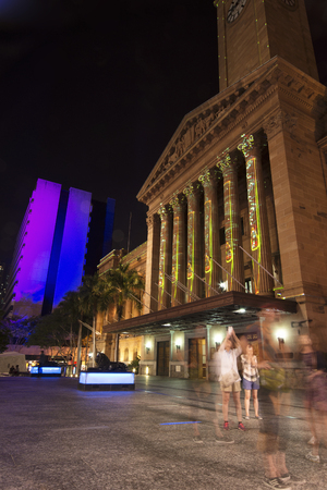 BRISBANE, AUSTRALIA - OCTOBER 25, 2014: Colour The City, visual light display in Brisbane City for the G20 meeting. The 2014 G-20 will be held in Brisbane, Australia.