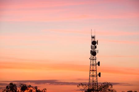 Radio tower at sunset in Redbank Plains, Brisbane, Queensland. photo