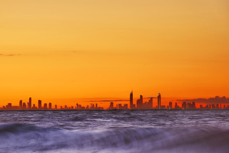 goldcoast: View of the Gold Coast including silhouette of the skyscrapers in the late afternoon. Stock Photo