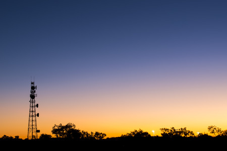 Radio tower at sunset in Redbank Plains Brisbane Queensland.