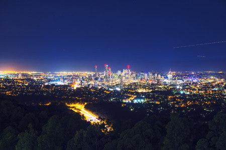 australia: View of Brisbane City from Mount Coot-tha at night. Queensland, Australia.