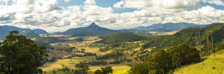 Carrs Lookout overlooking the mountains and fields in the Scenic Rim, Queensland during the day