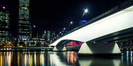 sky scrapers: Brisbane, Australia - Tuesday 23rd June, 2015: View of Victoria Bridge and Brisbane City at night from Southbank on Tuesday the 23rd June 2015. Editorial