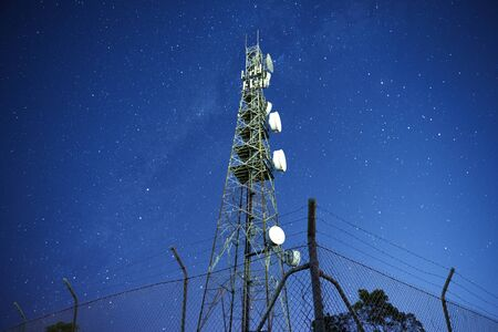 modulation: Radio tower at night with stars in the background in Redbank Plains, Brisbane, Queensland.