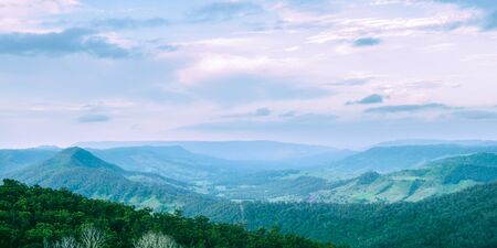 Mountain view of the Gold Coast Hinterlands in the late afternoon. Stock Photo