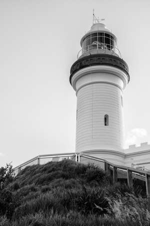 byron: Cape Byron lighthouse in NSW, Australia. Black and white image. Stock Photo