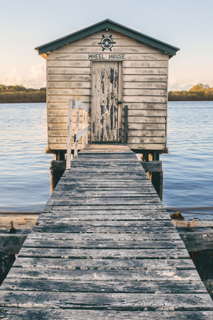 boat house: Maroochy River Boat House in the late afternoon in Maroochydore, Sunshine Coast. Stock Photo