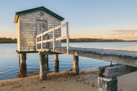 Maroochy River Boat House in the late afternoon in Maroochydore, Sunshine Coast. Banco de Imagens