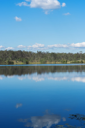 qld: Lake Manchester in Queensland during the day. Located on the southwest corner of Brisbane Forest Park. Stock Photo