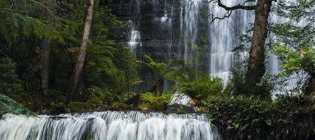 The beautiful Russel Falls after heavy rain fall in Mount Field National Park, Tasmania, Australia.