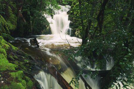 Knyvet Falls in Cradle Mountain, Tasmania after heavy rainfall.