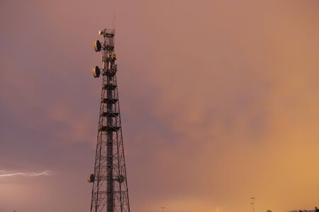 Radio tower during a storm with lightning in Redbank Plains, Brisbane, Queensland.