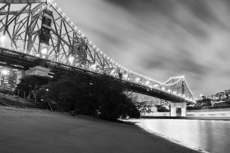The iconic Story Bridge in Brisbane, Queensland, Australia. Black and White.