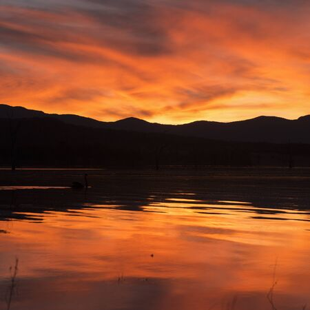 Lake Moogerah at sunset with beautiful clouds. Located on the Scenic Rim in Queensland
