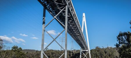Long spanning Batman Bridge by the Tamar river near Sidmouth, Tasmania. Stock Photo