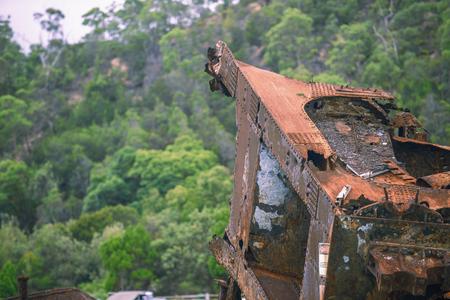 クイーンズランド州モートン湾にタンガローマ島沈没難破船。