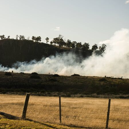 Bush fire in a country town in Hobart, Tasmania.