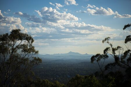 View of Brisbane and surrounding suburbs from Mount Coot-tha at during the day. Queensland, Australia.