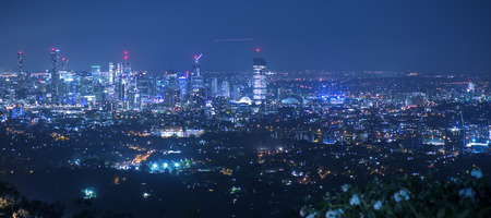 View of Brisbane from Mount Coot-tha at night. Queensland, Australia. Stock Photo