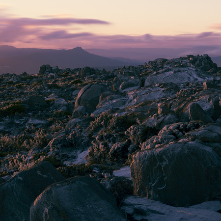 View on top of Mount Wellington in Hobart, Tasmania during the day. Stock Photo