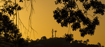 Radio tower in the afternoon in Ipswich, Queensland. Stock Photo