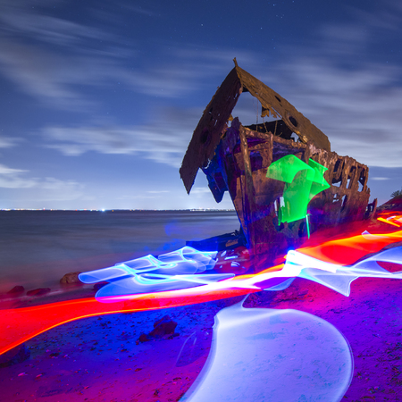 Shipwreck of HMQS Gayundah at Woody Point, Queensland, Australia. 写真素材 - 99530693