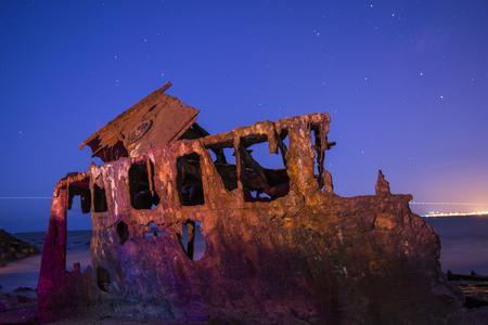 オーストラリア、クイーンズランド州ウッディポイントのHMQSガユンダの難破船。