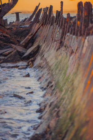 Shipwreck of HMQS Gayundah at Woody Point, Queensland, Australia. Stock Photo
