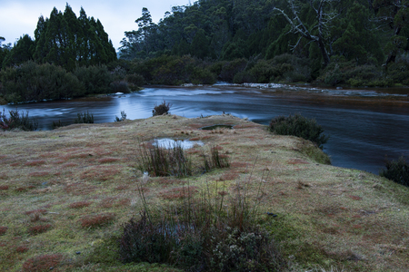Ronnie creek in Cradle Mountain, Tasmania on a winters day. Stock Photo