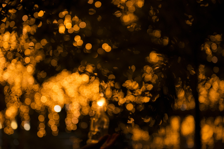 Close up of large golden bokeh shapes. Stock Photo