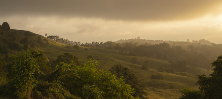 View of the Maleny mountains hinterlands, Sunshine Coast in the late afternoon. Stock Photo