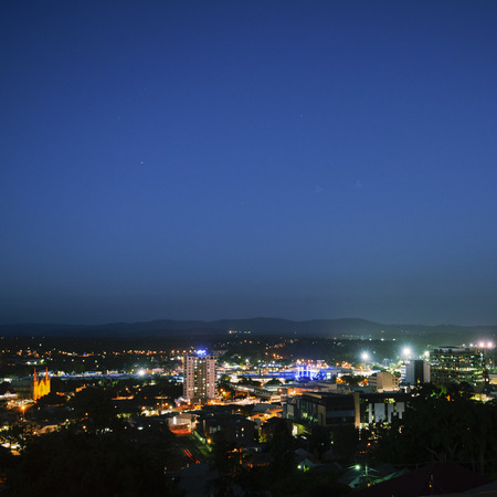 View of the CBD of Ipswich City at night. Queensland, Australia.