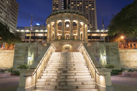 View of Anzac Square War Memorial in Brisbane City. Editorial