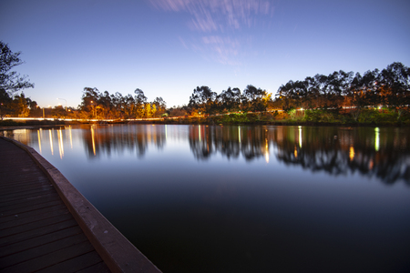 Beautiful lake in Springfield Lakes, Ipswich City, Queensland at dusk. Stock Photo