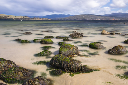 Beautiful view of Dennes Point beach located on Bruny Island in Tasmania. Stock Photo