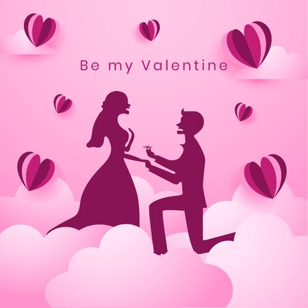 A beautiful couple in the cloudy beautiful pink heaven. Man is proposing to the woman, surprising character silhouette. origami paper heart balloons flying in the air. happy valentine's day.