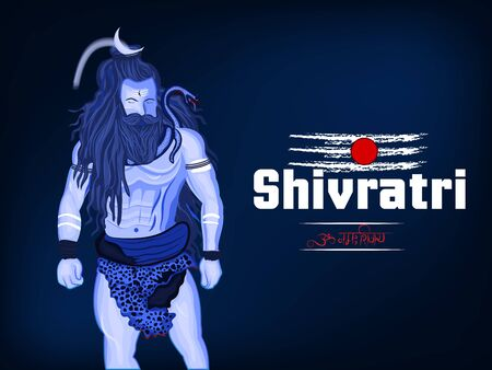 Happy Maha Shivratri. Illustration of lord Shiva for hindu's festival shivratri with om nmha shivay hindi text which is another name of lord shiva. Ilustración de vector