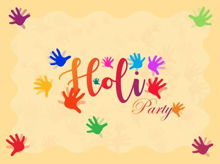 Holi party celebration card design with colorful hand prints.