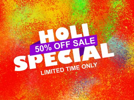 Holi Special Offer Sale with 50% discount with colorful background.