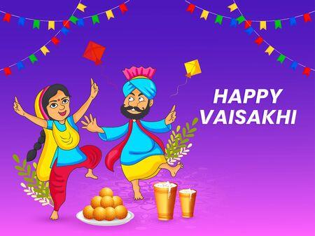 illustration of Happy Vaisakhi Punjabi festival celebration background with punjabi couble and realistic elements. Illustration
