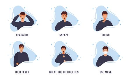 COVID-19, coronavirus symptoms icons set for infographic. abstract pattern design concept with characters.